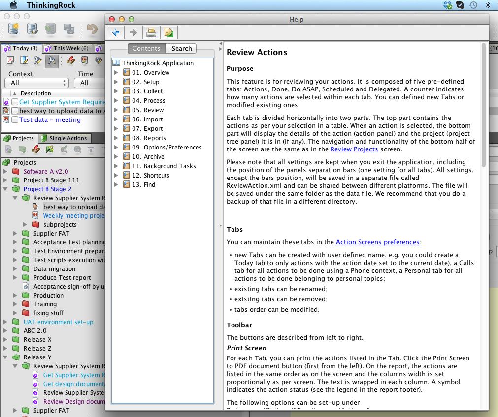 ThinkingRock for Mac OS X full screenshot